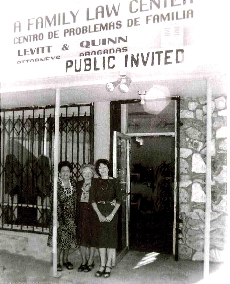 LevittQuinn Founders in 1981 – Ziva Sirkis Naumann, Ethel Levitt, Grace Quinn – in front of the first Silverlake storefront